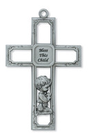"(73-29) 6"" PEWTER BABY BOY CROSS"