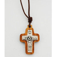 (760-108) OLIVE WOOD POPES CRUCIFIX