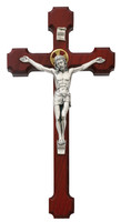 "(79-42492) 10"" CHERRY CRUCIFIX W/HALO SIL"