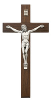 "(79-71) 10"" WALNUT/SILVER CRUCIFIX"