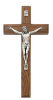 "(80-02) 8"" BEVELED WALNUT CRUCIFIX"