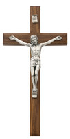 "(80-04) 10"" BEVELED WALNUT CRUCIFIX"
