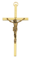 "(80-151) 4"" BRASS CRUCIFIX W INRI,GOLD"