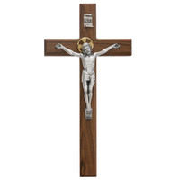 "(80-160) 13"" WALNUT CRUCIFIX SILVER"