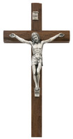 "(80-38) 10"" CARVED WALNUT CRUCIFIX"