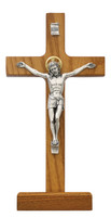 "(80-59) 8"" WALNUT STAIN STAND CRUCIFIX"