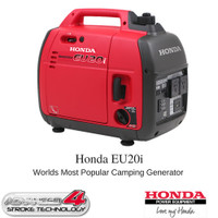 Honda Super Quiet Inverter Generator, produces 2000 Watts or 2kVa of power in a light portable package.