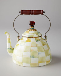 MacKenzie-Childs Parchment Check 2 qt. Tea Kettle