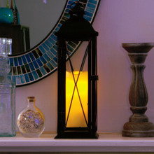 Siena Metal Lantern with LED Candle & On/Off/Timer