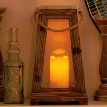 "Newport 15"" LED Candle Lantern - Natural Wood"