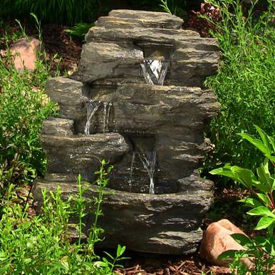 "24"" Rock Falls Fountain w/ LED Lights"