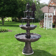 4-Tier Grand Courtyard Fountain - Dark Chestnut