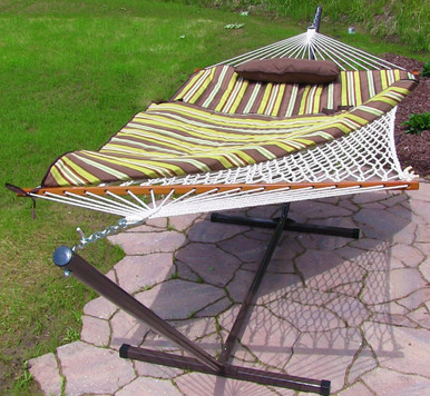 Desert Stripe Rope Hammock and Stand Combo with Pad and Pillow