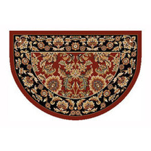 46x31 Half Round Kashan Hearth Rug - Red/Black