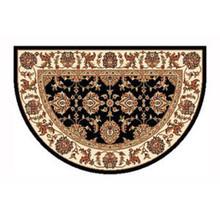 46x31 Half Round Kashan Hearth Rug - Black/Ivory