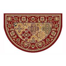 46x31 Half Round Kashan Hearth Rug - Red