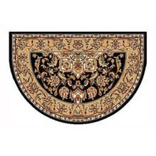 46x31 Half Round Kashan Hearth Rug - Black/Beige