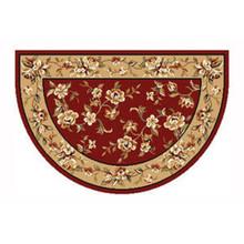 46x31 Half Round Floral Hearth Rug - Red/Beige