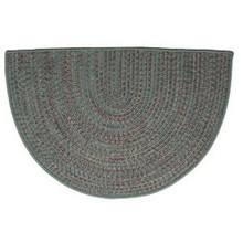 46x31 Half Round Tweed Braidmate Hearth Rug - Green