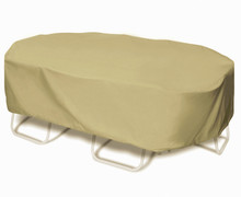"Two Dogs 110"" Oval/Rectangle Table Set Cover - Khaki"