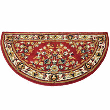 44x22 Half Round Fire Resistant Wool Hearth Rug - Burgundy