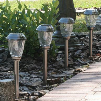 Charleston Solar Pathway Lights - Pewter Finish