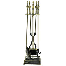 5-Piece Fireplace Tool Set - Antique Brass