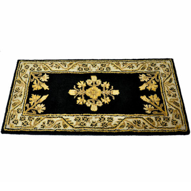 44x22 Rectangle Fire Resistant Wool Hearth Rug - Noir Jardin