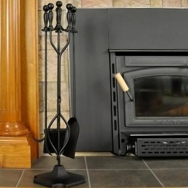 5-Piece Steel Fireplace Tool Set - Black Finish
