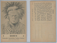 PC Post Card, Groves, Famous American Indian, 1941, #8 Keokuk, Black