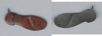 Tin Tobacco Tag, 1890's-1910's, No Tax Shoe (Red)