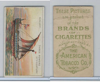 T418 American Tobacco, Old And Ancient Ships, 1910, Galley, Three Rowers