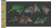 Victorian Diecuts, 1890's, Animals, Lot of 6, Dinosaurs, Creatures (6)