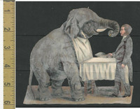 Victorian Diecuts, 1890's, Circus & Fairs, Elephant at Table, Large (7)