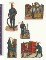 Victorian Diecuts, 1890's, Occupations, Fire Fighters 5 Scenes (P3)