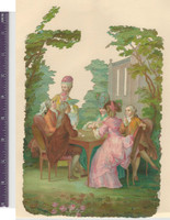 Victorian Diecuts, 1890's, Landscapes, Playing Cards In Garden (P24)