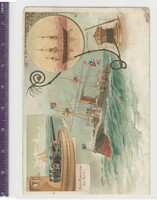 Victorian Card, 1890's, Ships & Nautical, Charleston & Portsmouth Navy (P18)