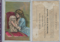 K Card, Gates, Cole & Miles Coffee, 1890's, Girl With Dog