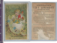 Victorian Card, 1890's, Arnheims Liniment, Boy in Easter Egg
