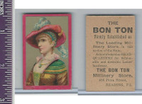Victorian Card, 1890's, Bon Ton Millinery, Girl in Red Hat