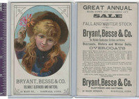Victorian Card, 1890's, Bryant Besse,  Girl With Hat
