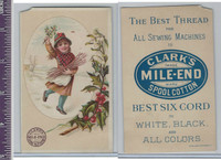 Victorian Card, 1890's, Clarks Thread, Girl Collecting Wood