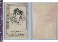 Victorian Card, 1890's, Fahy's Dress Goods, Woman in Cloak