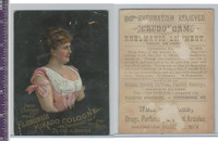 Victorian Card, 1890's, Flemings Mikado Cologne, Woman In Pink Dress