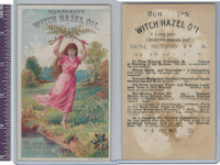 Victorian Card, 1890's, Humphreys Witch Hazel Oil, Girl & Landscape