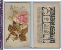 Victorian Card, 1890's, Rideout & Co., Rose, A Birthday Gift