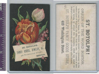 Victorian Card, 1890's, St. Botolph Fancy Goods, Flowers