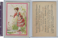 Victorian Card, 1890's, White Swan Soap, Girl Feeding Goose