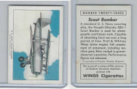 T87 Wings Cigarettes, Series (No Letter Series), 1941,#23 Scout Bomber
