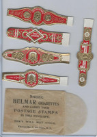 T350-1, 1910, Imitation Cigar Bands, Helmar, 5 Different & Glassine (21)